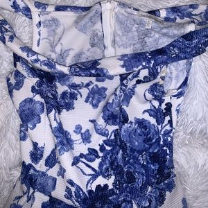 blue and white floral printed off the shoulder